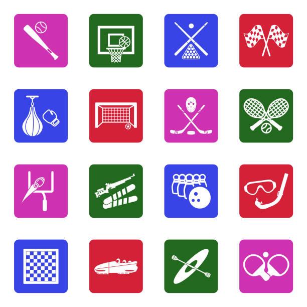 Sports Icons. White Flat Design In Square. Vector Illustration. vector art illustration