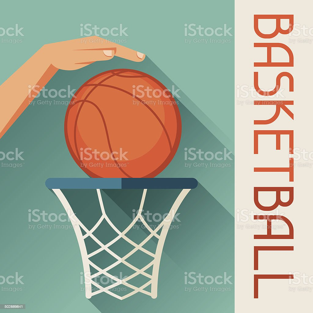Sports illustration hand shot basketball ball through hoop. vector art illustration