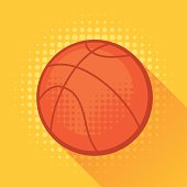 Sports illustration with basketball ball in flat style.