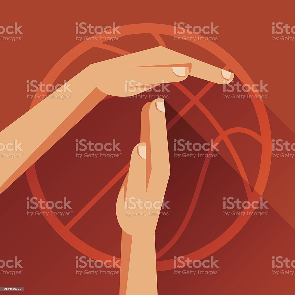 Sports illustration with basketball gesture sign timeout. vector art illustration