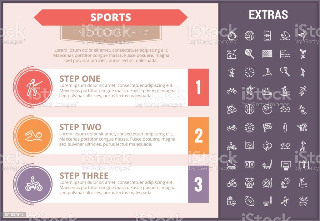 スポーツ インフォ グラフィック テンプレート要素およびアイコン