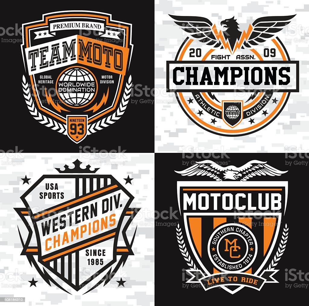 Sports insignia emblem set vector art illustration