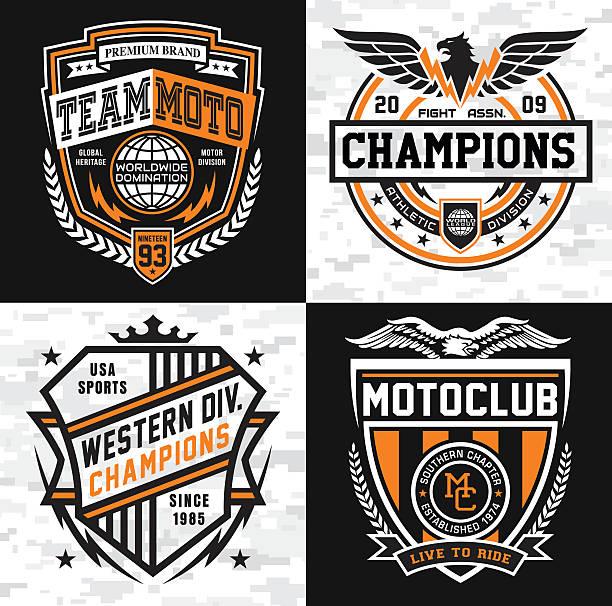 illustrations, cliparts, dessins animés et icônes de sports insigne emblème ensemble - moto sport