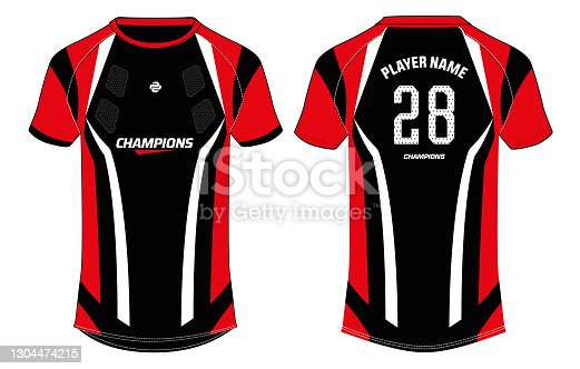 istock Sports jersey t shirt design concept vector template, Football jersey concept with front and back view for Soccer, Cricket, Volleyball, Rugby, tennis, badminton and active wear uniform. 1304474215