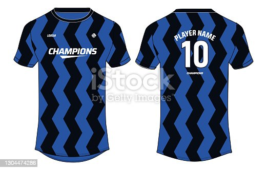 istock Sports jersey t shirt design concept vector template, Football jersey concept with front and back view for Soccer, Cricket, Volleyball, Rugby, tennis, badminton and active wear uniform. 1304474286