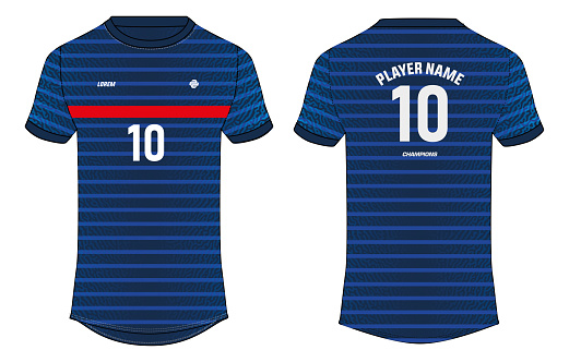 Sports jersey t shirt design concept vector template, France jersey concept with front and back view for football, Cricket, soccer, Volleyball, Rugby, tennis and badminton uniform