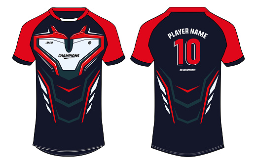 Sports jersey t shirt design concept vector template, Raglan Round neck football jersey concept with front and back view for Cricket, soccer, Volleyball, Rugby, tennis and badminton uniform