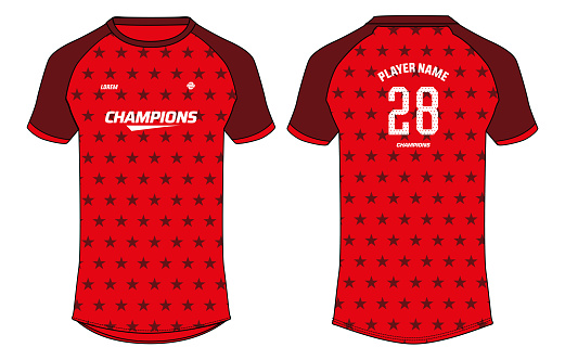 Sports jersey t shirt design concept vector template, Star pattern Raglan Round neck USA football jersey concept with front and back view for Cricket, soccer, Volleyball, Rugby uniform
