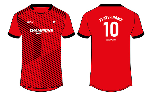 Sports jersey t shirt design concept vector template, Toronto football jersey concept with front and back view for Cricket, soccer, Volleyball, Rugby, tennis and badminton uniform