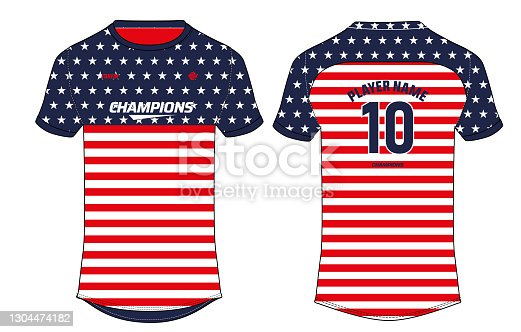 istock Sports jersey t shirt design concept vector template, USA Football jersey concept with front and back view for Soccer, Cricket, Volleyball, Rugby, tennis and badminton, America Jersey Concept 1304474182