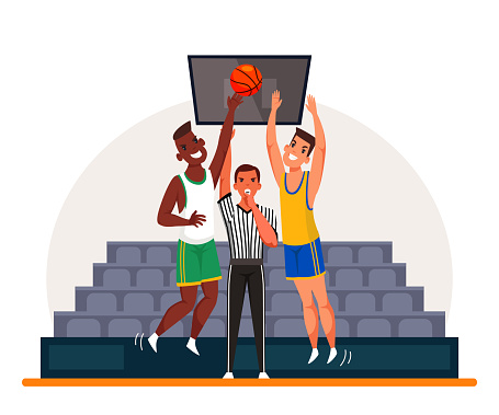 Sports judge stand between two basketball players
