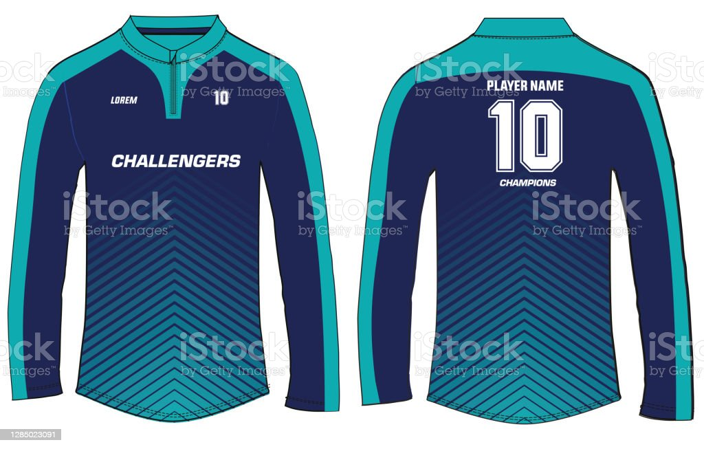 Sports Long Sleeved Tshirt Jersey Design Vector Template Sports Jersey Concept With Front And Back View For Soccer Jersey Cricket Jersey Football ...