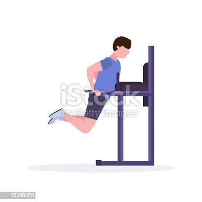 sports man doing exercises on parallel bar guy working out in gym fitness training healthy lifestyle concept flat white background vector illustration