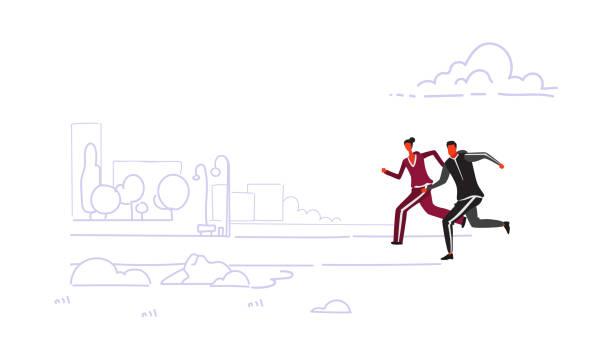 ilustrações de stock, clip art, desenhos animados e ícones de sports man woman jogging runners couple running outdoor city urban park cityscape background healthy lifestyle concept sketch doodle full length horizontal - young woman running city