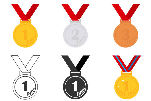 Vectores De Medallas Del Primer Segundo Y Tercer Lugar E