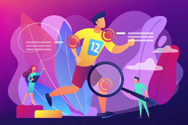 Sports medicine concept vector illustration. Athlete running and tiny people physicians treating injuries. Sports medicine, sports medical services, sports physician specialist concept. Bright vibrant violet vector isolated illustration sports medicine stock illustrations