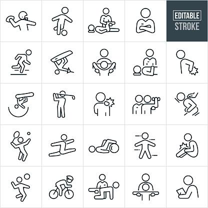 Sports Medicine Thin Line Icons - Editable Stroke