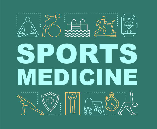 Sports medicine word concepts banner Sports medicine word concepts banner. Physical therapy, rehabilitation. Gymnastics, swimming. Presentation, website. Isolated lettering typography idea with linear icons. Vector outline illustration sports medicine stock illustrations