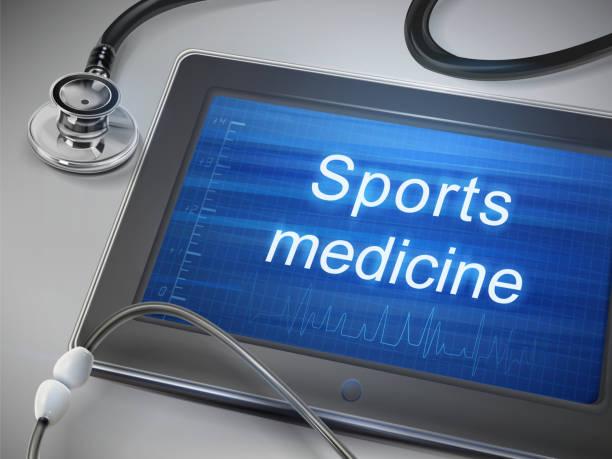 ilustraciones, imágenes clip art, dibujos animados e iconos de stock de sports medicine palabras que aparecen en los comprimidos - medicina del deporte