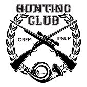 Sports monochrome vector badge with weapon and signal horn for a hunting club.
