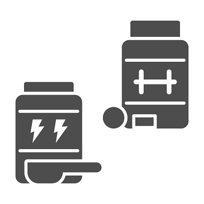 Sports nutrition solid icon, Gym concept, jars with supplement sign on white background, Bottles of pills icon in glyph style for mobile concept and web design. Vector graphics.