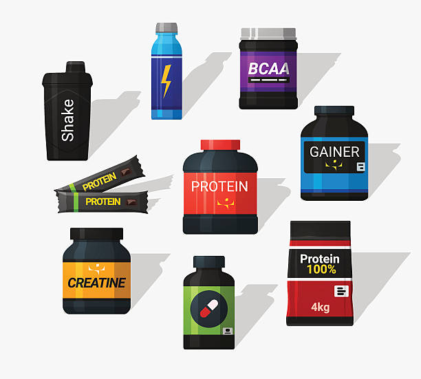 Sports nutrition Sports nutrition icons in flat style and long shadow. Detailed flat style nutritional supplement stock illustrations