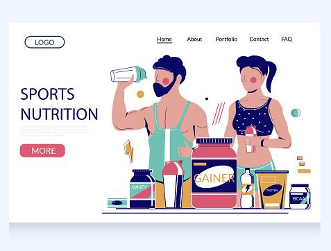 Sports nutrition vector website landing page design template