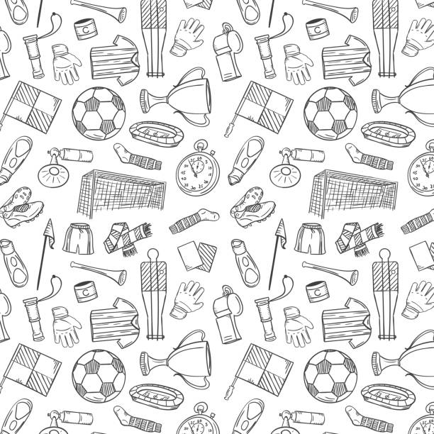 Sports Pattern With Soccer/Football Symbols in Hand Draw Style. Vector Illustration Sports Pattern With Soccer/Football Symbols in Hand Draw Style. Vector Illustration backgrounds icons stock illustrations
