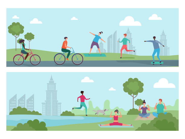Sports people in the city park. Outdoor activity, international people riding bicycles, running, doing yoga vector illustration Sports people in the city park. Outdoor activity, international people riding bicycles, running, doing yoga vector illustration. Park city people bicycle and yoga active lifestyle stock illustrations