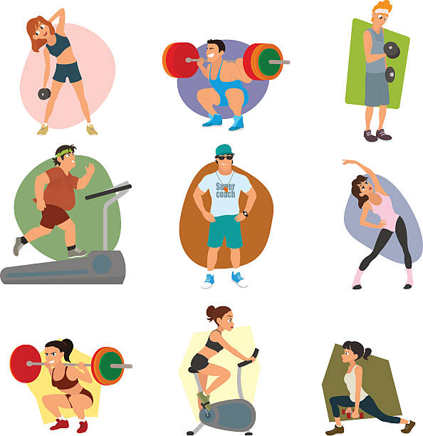 sports people in the flat style. vector art illustration