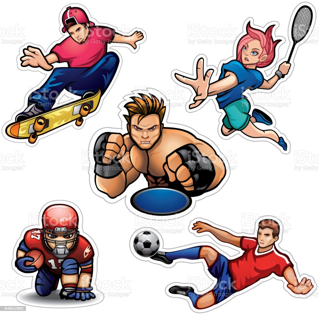 Sports people vector set vector art illustration