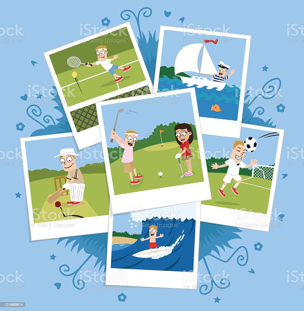 Sports photo montage royalty-free stock vector art