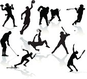 """Sports Players. Graphic silhouette illustrations of male sports athletes. Football, Baseball, Hockey, Basketball, Soccer, Track, Tennis, Golf and Lacrosse. Scale to any size. Color changes a snap. Check out my """"Flaming Sports Balls and more"""" light box for more."""