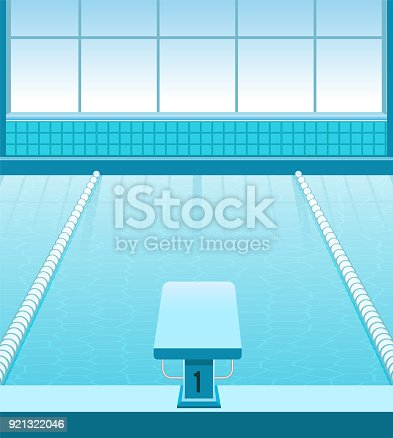 istock Sports pool with a side, a starter unit and track splits. Flat. Healthy lifestyle. Vector 921322046