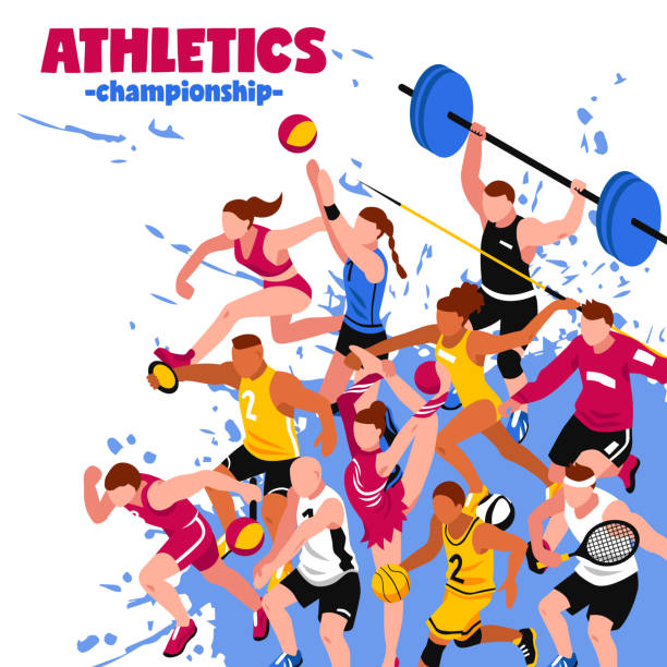 stockillustraties, clipart, cartoons en iconen met sportposter - atleet