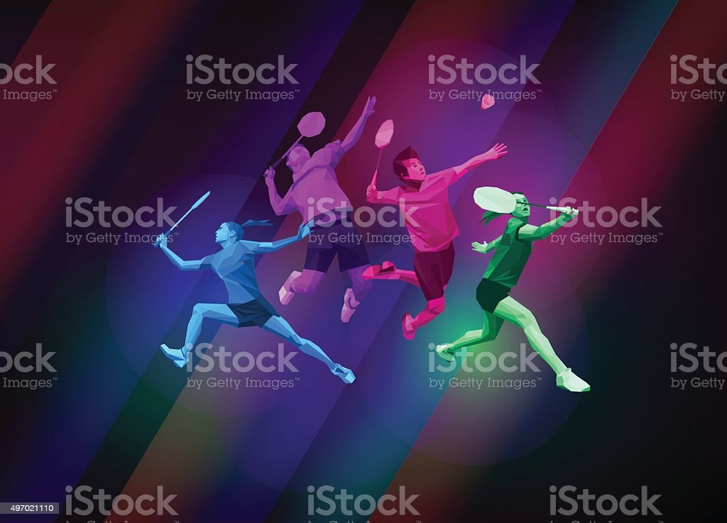 Sports poster with badminton players vector art illustration