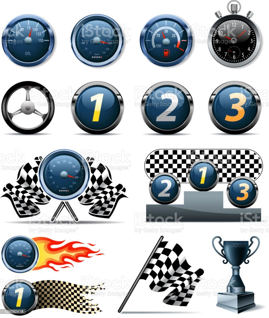 sports race symbols vector art illustration
