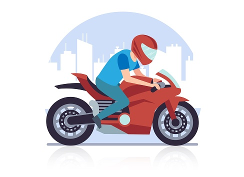 Sports racing motorcycle. Racer against backdrop of cityscape rushes at high speed on red motorbike cartoon flat style illustration on white background