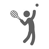 istock Sports, racket, tennis icon. Gray vector on isolated white background 1270590383