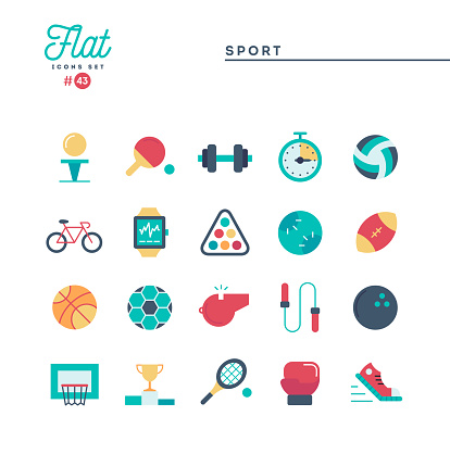 Sports, recreation, work out, equipment and more, flat icons set