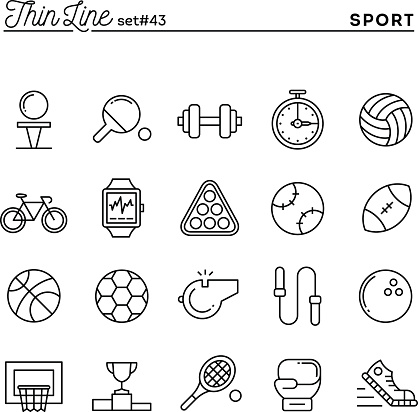 Sports Recreation Work Out Equipment And More Thin Line Icons Stock Illustration - Download Image Now