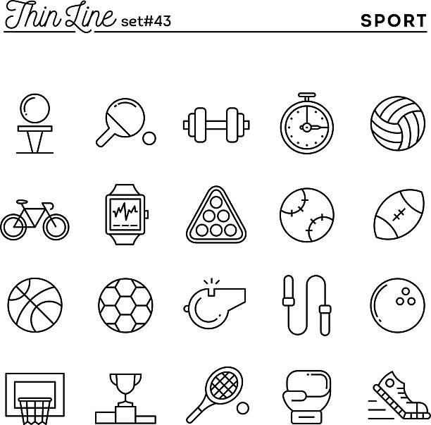 Esportes, recreação, exercitar, equipamentos e muito mais, os ícones da Linha fina - ilustração de arte em vetor