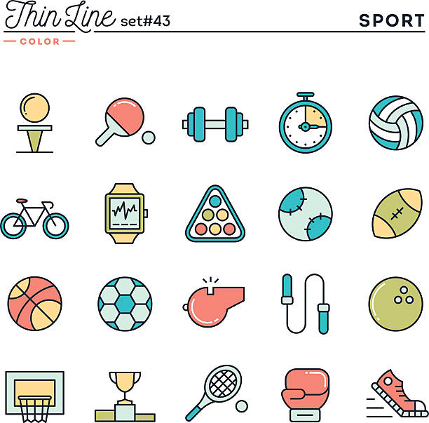 Sports, recreation, work out, equipment and more vector art illustration