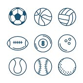 Hand drawn sport balls over white background vector illustration