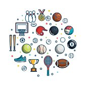 Colorful sports related objects over white background vector illustration
