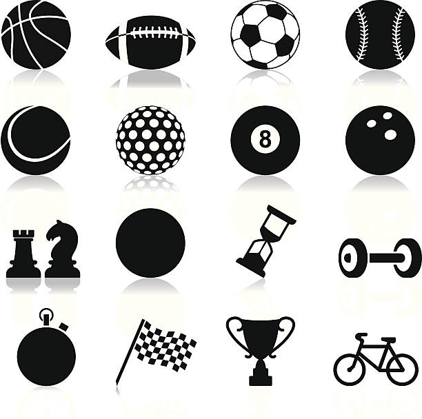 Sports related set of twelve icons Vector set of black sport icons american football ball stock illustrations