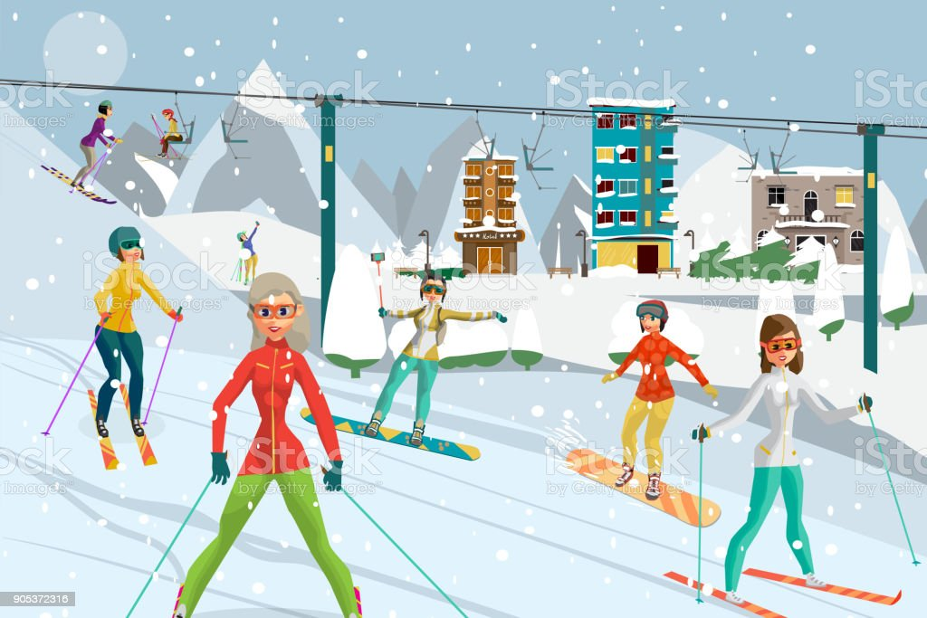 Sports resort in the mountains in winter vector art illustration
