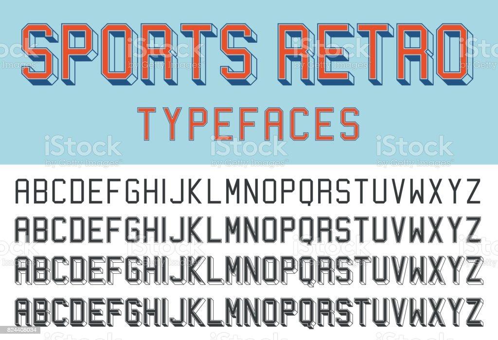 Sports retro typefaces vector art illustration
