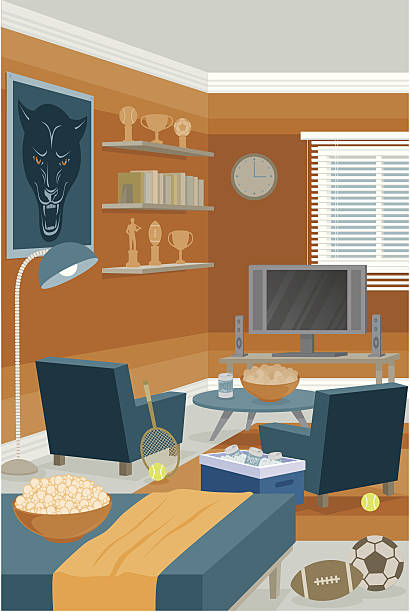 Sports Room A sports themed room with a football, soccer ball, tennis equipment, and a variety of sporting trophies on the shelf. Gradients were used when creating this illustration. bedroom clipart stock illustrations