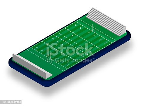 istock sports rugby court with gates and ball on smartphone screen. Online games, modern technologies in sports and entertainment industry. Ismetric vector 1310914280